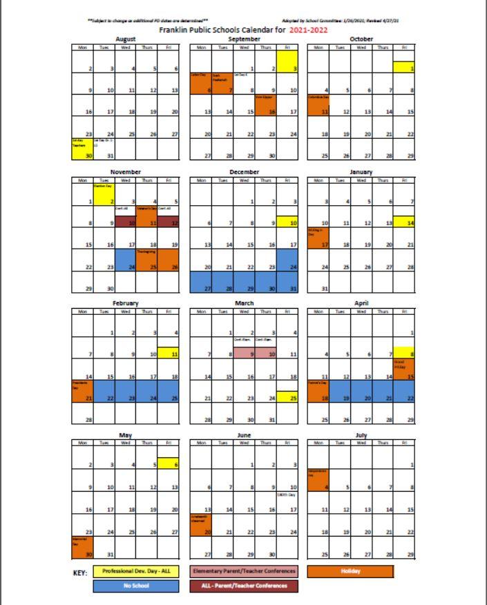 21-22 School Calendar